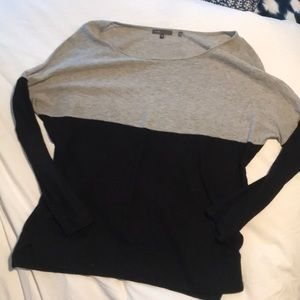 Vince slub, loose grey & black sweater, medium